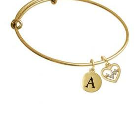 Gold Tone Heart - Crystal Heartbeat Gold Tone Initial Charm Expandable Bangle Bracelet BR-C5466-PebbleInitial-F2084-GP