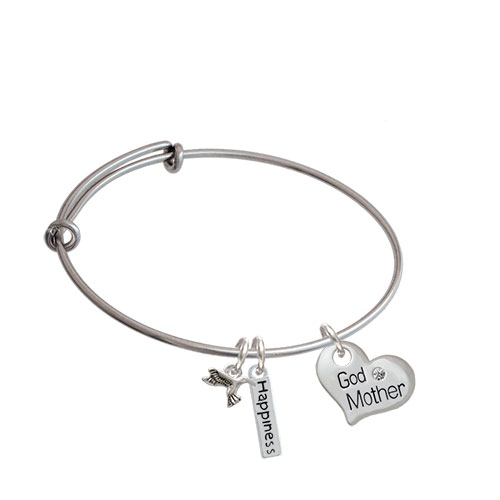 Large Family Heart with Clear Crystal Expandable Bangle Bracelet| Message| Godmother