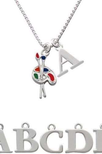 Paint Palette Initial Charm Necklace NC-C1423-SPInitial-F1578