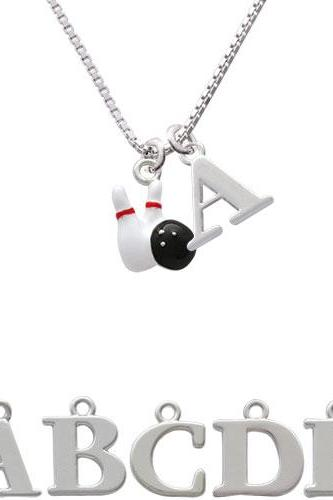 Bowling Pins with Bowling Ball Initial Charm Necklace NC-C2468-SPInitial-F1578