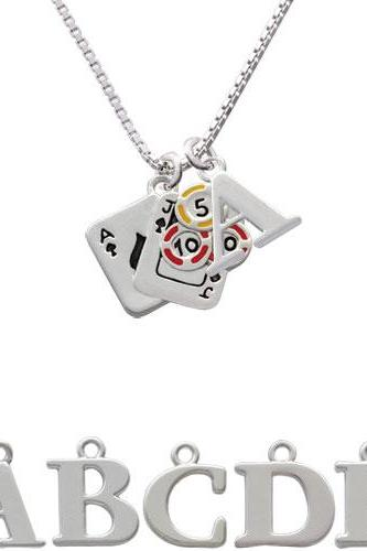 Cards with Poker Chips Initial Charm Necklace NC-C2668-SPInitial-F1578