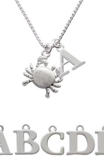 Antiqued Crab Initial Charm Necklace NC-C2910-SPInitial-F1578