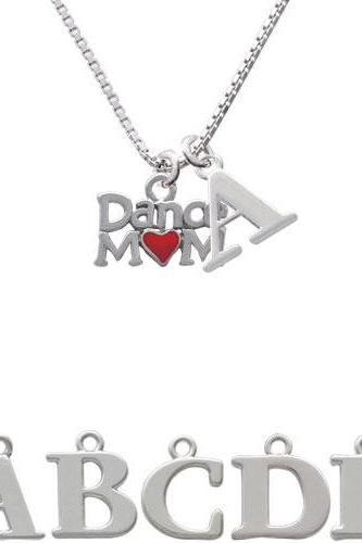 Dance Mom with Red Heart Initial Charm Necklace NC-C3828-SPInitial-F1578