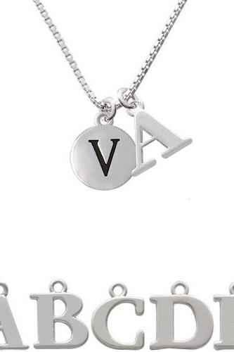 Capital Letter - V - Pebble Disc - Initial Charm Necklace NC-C5146-SPInitial-F1578