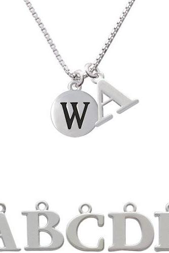 Capital Letter - W - Pebble Disc - Initial Charm Necklace NC-C5147-SPInitial-F1578