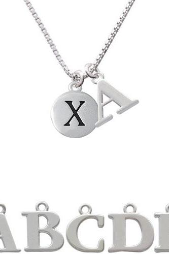 Capital Letter - X - Pebble Disc - Initial Charm Necklace NC-C5148-SPInitial-F1578