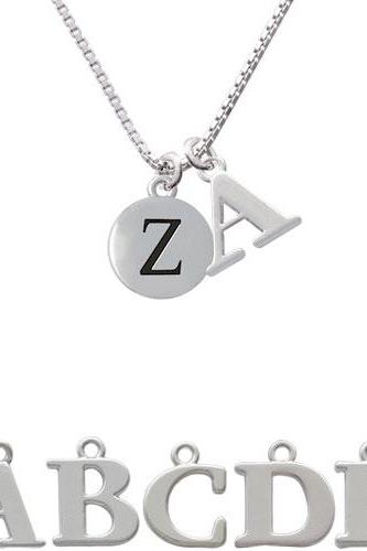 Capital Letter - Z - Pebble Disc - Initial Charm Necklace NC-C5150-SPInitial-F1578