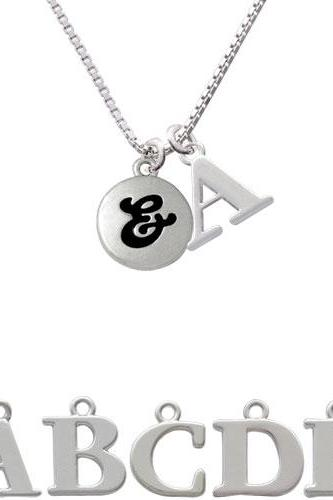 Capital Letter - & - Pebble Disc - Initial Charm Necklace NC-C5151-SPInitial-F1578