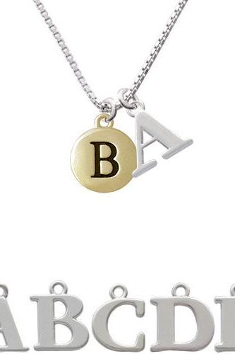 Capital Gold Tone Letter - B - Pebble Disc - Initial Charm Necklace NC-C5153-SPInitial-F1578