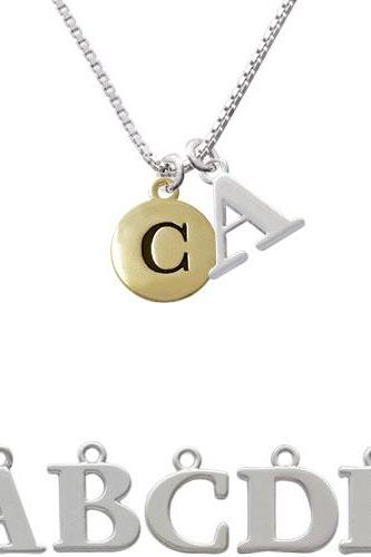 Capital Gold Tone Letter - C - Pebble Disc - Initial Charm Necklace NC-C5154-SPInitial-F1578