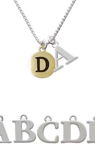 Capital Gold Tone Letter - D - Pebble Disc - Initial Charm Necklace NC-C5155-SPInitial-F1578