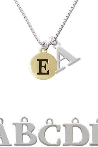 Capital Gold Tone Letter - E - Pebble Disc - Initial Charm Necklace NC-C5156-SPInitial-F1578