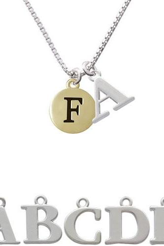 Capital Gold Tone Letter - F - Pebble Disc - Initial Charm Necklace NC-C5157-SPInitial-F1578