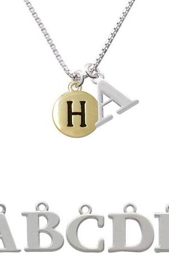 Capital Gold Tone Letter - H - Pebble Disc - Initial Charm Necklace NC-C5159-SPInitial-F1578