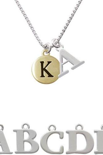 Capital Gold Tone Letter - K - Pebble Disc - Initial Charm Necklace NC-C5162-SPInitial-F1578