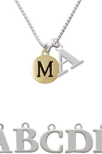 Capital Gold Tone Letter - M - Pebble Disc - Initial Charm Necklace NC-C5164-SPInitial-F1578