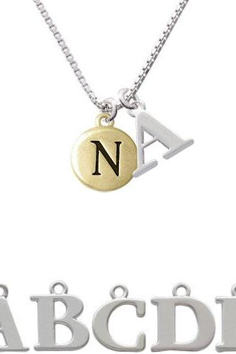 Capital Gold Tone Letter - N - Pebble Disc - Initial Charm Necklace NC-C5165-SPInitial-F1578