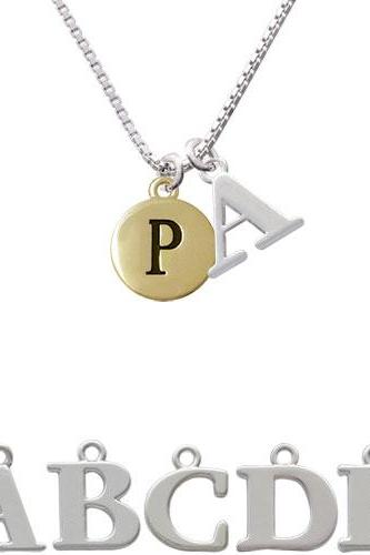 Capital Gold Tone Letter - P - Pebble Disc - Initial Charm Necklace NC-C5167-SPInitial-F1578