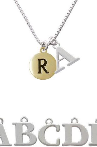 Capital Gold Tone Letter - R - Pebble Disc - Initial Charm Necklace NC-C5169-SPInitial-F1578
