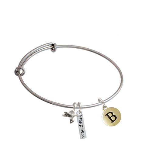 Capital Gold Tone Letter - Pebble Disc - Expandable Bangle Bracelet| Initial| B