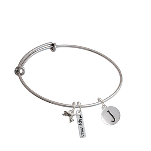 Capital Letter - Pebble Disc - Expandable Bangle Bracelet| Initial| J